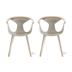 Lot de 2 fauteuils Fox 3725, assise sable, pieds frêne clair, Pedrali, H79xL60,5xl53