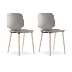 Lot de 2 chaises Babila 2750, gris, pieds bois naturel, Pedrali