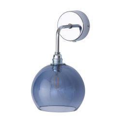 Applique verre soufflé Rowan Bleu abysse, diamètre 15,5 cm, Ebb & Flow, rosace et bras argentés