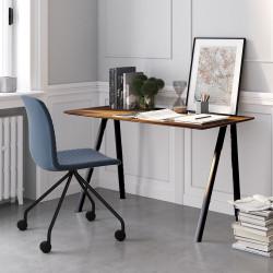 Ensemble télétravail bureau pieds noirs plateau noyer et chaise pieds noirs et assise bleu Connect Pro, Fornasarig