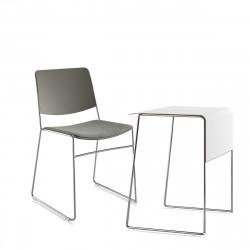 Pack télétravail petit bureau pieds chrome, plateau blanc et chaise pieds chrome, dossier et assise grise Link 62, Fornasarig